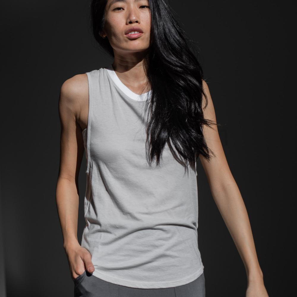 Lunya Sleepwear Organic Pima Muscle Tee - #Cloud/White