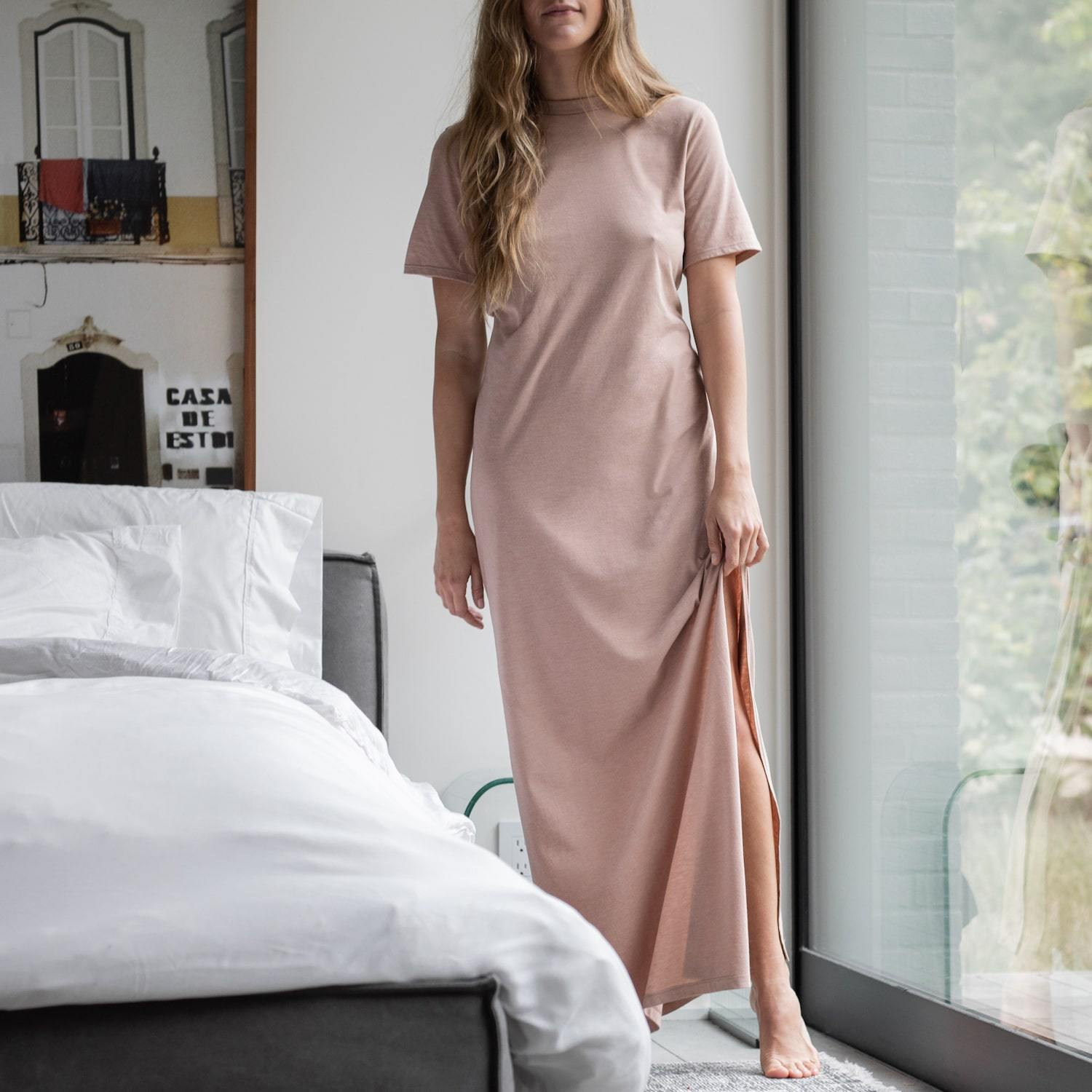 Lunya Sleepwear Restore Pima Long Dress - #Bare