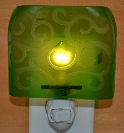 Glass night light - Green Swirls