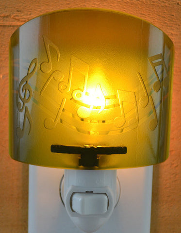 Glass night light - Green Music