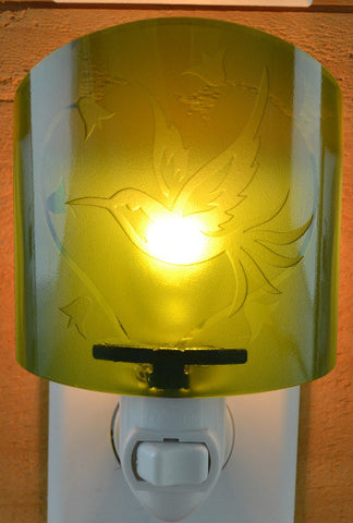 Glass night light - Green Hummingbird