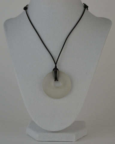 Glass circle necklace - clear matte finish
