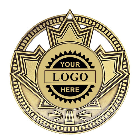 "Logo Insert Medallion - Patriot 2 3/4"" - Gold with Black Engraving (A3527) - Quest Awards"
