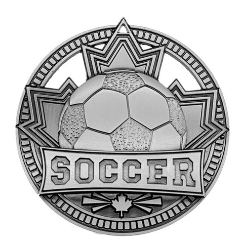 "Soccer Medallion - Silver Patriot 2 3/4"" Diameter - Silver (A3562) - Quest Awards"