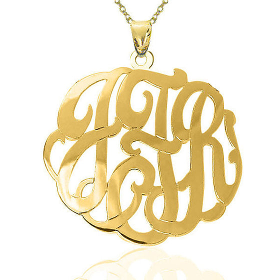 24K Gold Plated Fancy Script Monogram Necklace