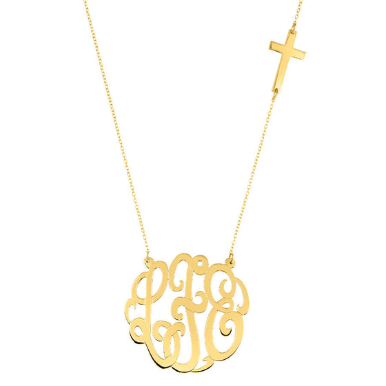 Gold Monogram With Sideways Cross Necklace