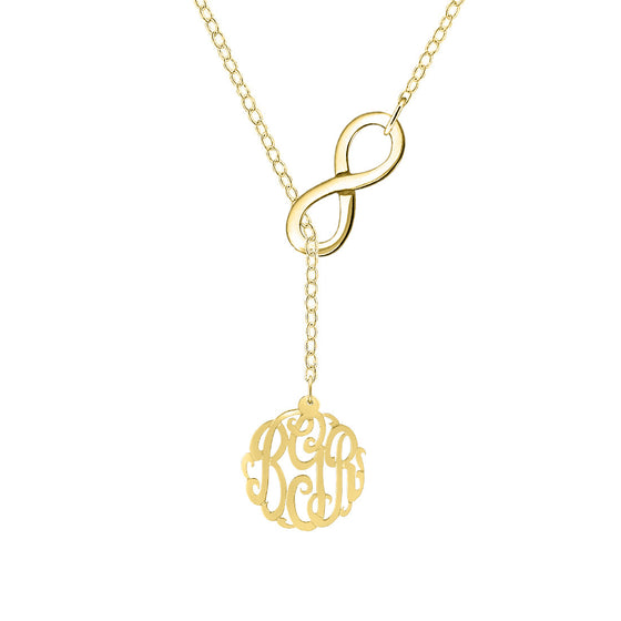 Gold Monogram Infinity Lariat Necklace
