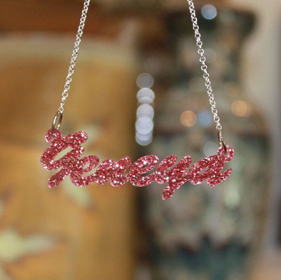 acrylic name necklace cursive pink glitter