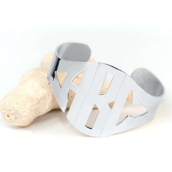 Block Monogram Bangle Cuff Bracelet