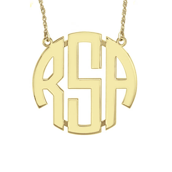 14K Solid Gold Block Monogram Necklace