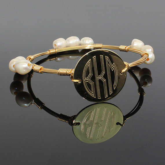 gold and pearl wire wrap monogram bangle bracelet