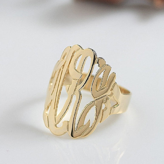 Tall Cutout Monogram Ring 3