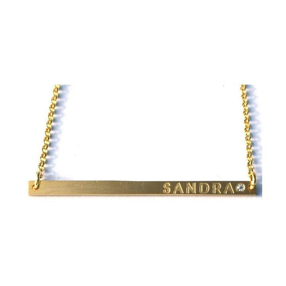 Engraved Long and Lean Horizontal Bar Necklace with Birthstone