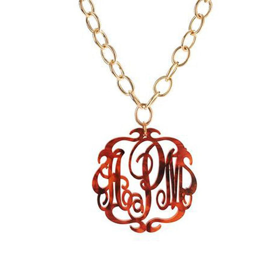 Acrylic Monogram Necklace - Long Chain