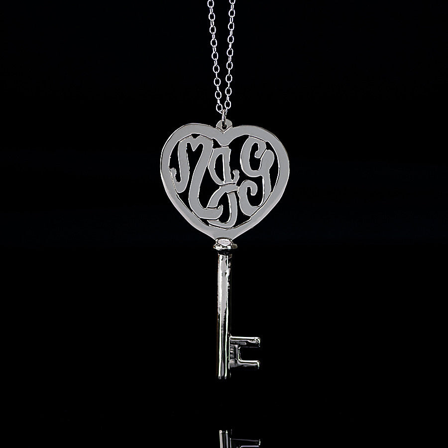 Sterling Silver Heart Monogram Key Necklace