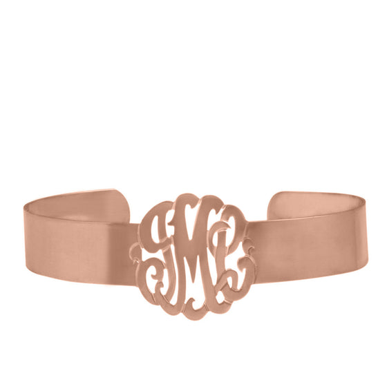 Rose Gold Plated Monogram Cuff Bracelet