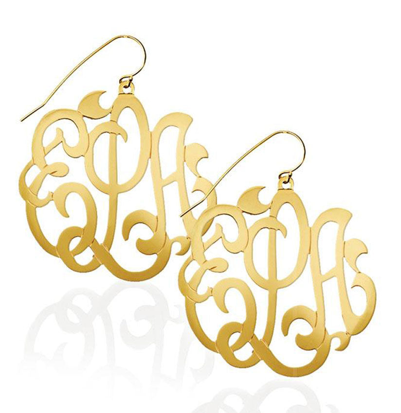 Large Monogram Dangle Earrings