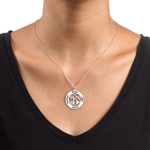 Small Sterling Silver Mothers Cutout Monogram Pendant-2