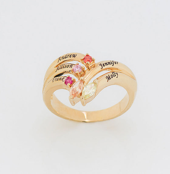 Personalized Mothers Ring - Up To 5 Names/Birthstones