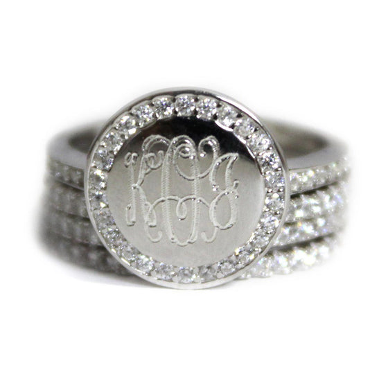 Sterling Silver CZ Rimmed Monogram Stacking Ring