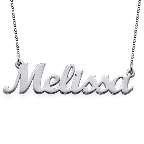 Sterling Silver Script Nameplate Necklace 2