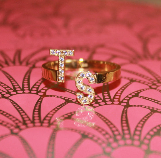 staggered initial ring - Taylor Swift TS ring