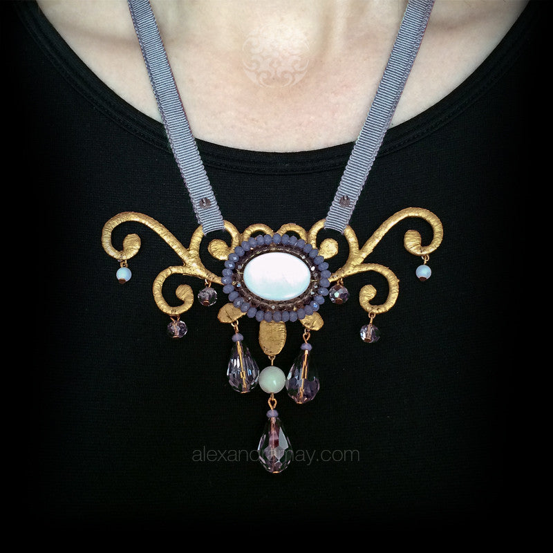 Ricardo Douaihi Small Gold & Mother of Pearl Scroll Beaded Necklace (RD215)