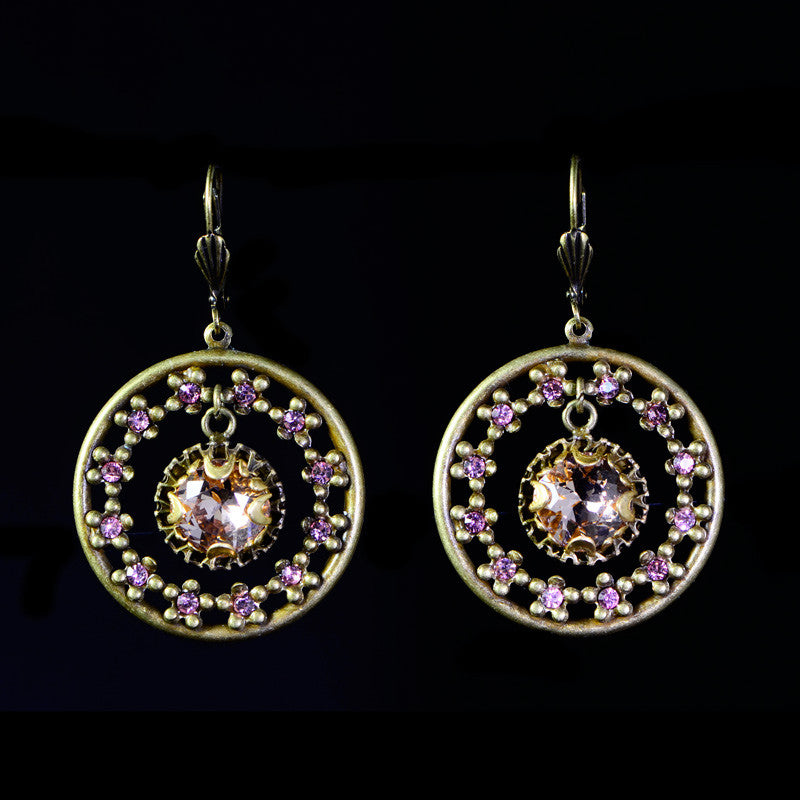 Sweet Romance Jeweled Circle Vintage Rose Crystal Earrings (E1195 VR)