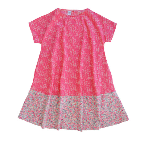 coco and wolf full skirted dress made with liberty fabric capel coral