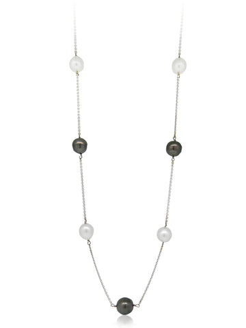 South Sea and Black Tahitian Chain Pearl Strand