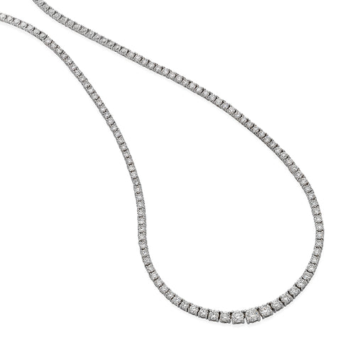 White Gold 4.20cts Diamond Line Necklace