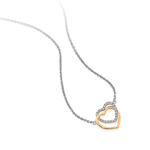 Dainty Gold Hearts and Diamond Necklet