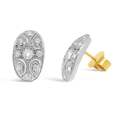 L'Ovale Petite Diamond Stud Earrings   WPE37