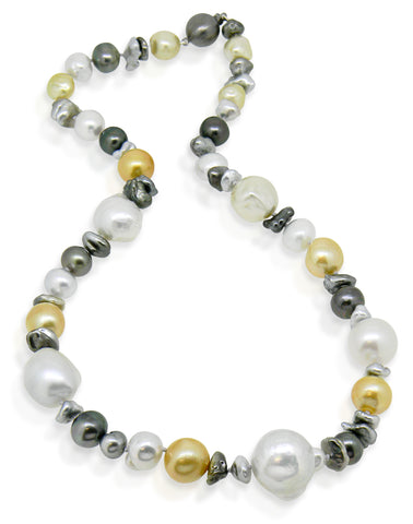 South Sea, Tahitian & Keshi Multi-Coloured Pearl Necklace