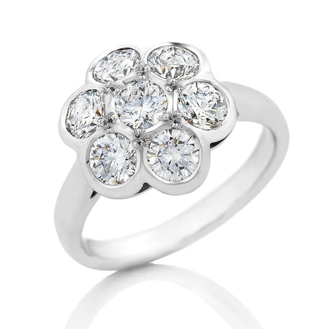 18ct White Gold 'Daisy' Diamond Cluster Ring