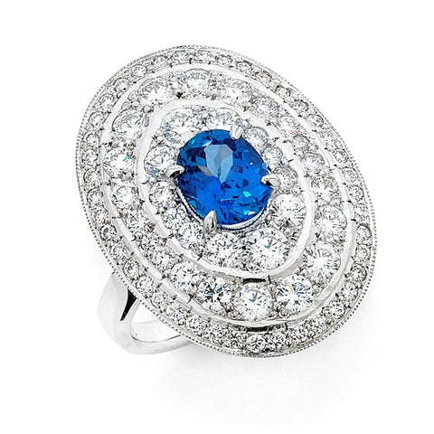 'Gatsby Coco' Art Deco Style Sapphire and Diamond Ring