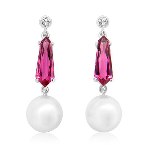 South Sea Pearls, Pink Tourmaline and Diamond Drop Earrings
