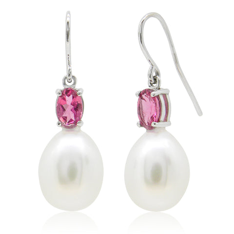 9ct Tourmaline and Freshwater Pearl Earrings