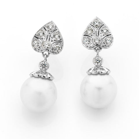South Sea pearl and diamond articulated drop earrings, art deco style, bespoke jewellery Melbourne