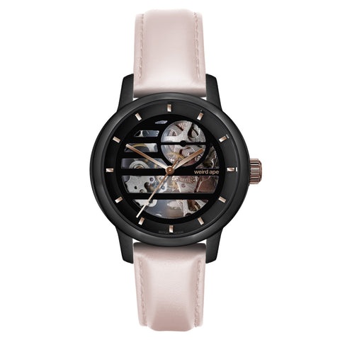 Weird Ape Weird Ape Rosalind - Women's Black skeleton watch with a Nude strap
