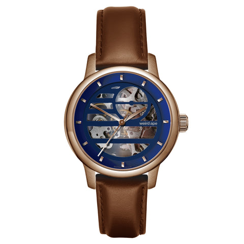 Weird Ape Weird Ape Rosalind - Women's Rose gold skeleton watch with a Oak strap