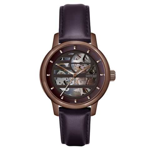 Weird Ape Weird Ape Rosalind - Women's Chocolate skeleton watch with a Aubergine strap