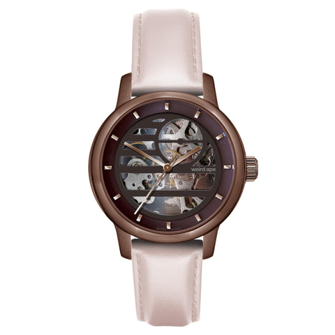 Weird Ape Weird Ape Rosalind - Women's Chocolate skeleton watch with a Nude strap