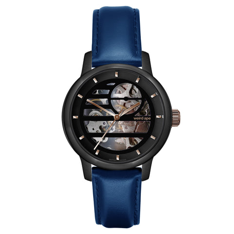Weird Ape Weird Ape Rosalind - Women's Black skeleton watch with a Indigo Blue strap