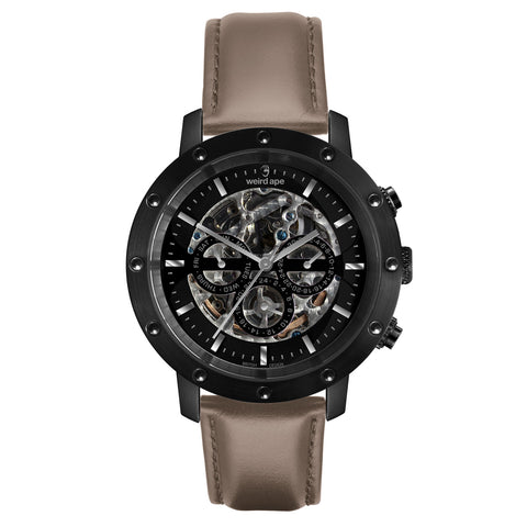 Weird Ape Weird Ape Icarus 3-Dial - Men's Black skeleton watch with Hazelnut strap