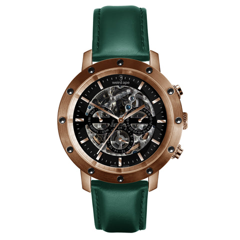 Weird Ape Weird Ape Icarus 3-Dial - Men's Rose gold skeleton watch with Dark Teal strap
