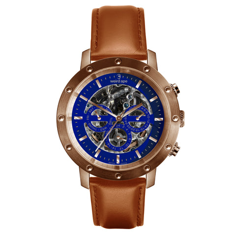 Weird Ape Weird Ape Icarus 3-Dial - Men's Rose gold skeleton watch with Tan strap