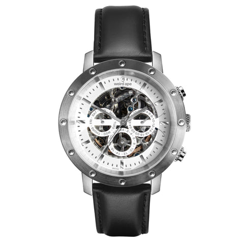 Weird Ape Weird Ape Icarus 3-Dial - Men's Silver skeleton watch with Black strap