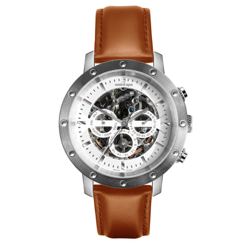 Weird Ape Weird Ape Icarus 3-Dial - Men's Silver skeleton watch with Tan strap