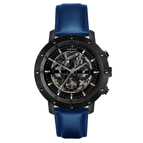 Weird Ape Weird Ape Icarus 3-Dial - Men's Black skeleton watch with Indigo Blue strap